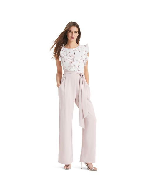 Phase Eight - White And Petal Victoriana Floral Jumpsuit - Lyst