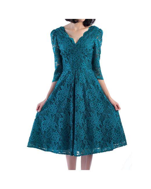 Jolie Moi Blue Puff Shoulder V-neck Lace Dress