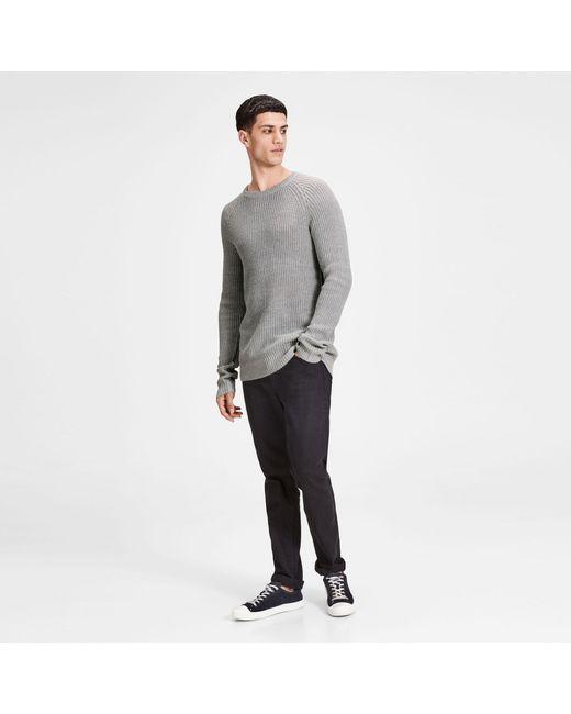 Jack & Jones - Gray Grey 'pannel' Knit Jumper for Men - Lyst