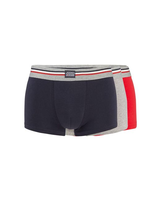 Jockey - Blue Pack Of Three Red Navy And Grey Trunks for Men - Lyst