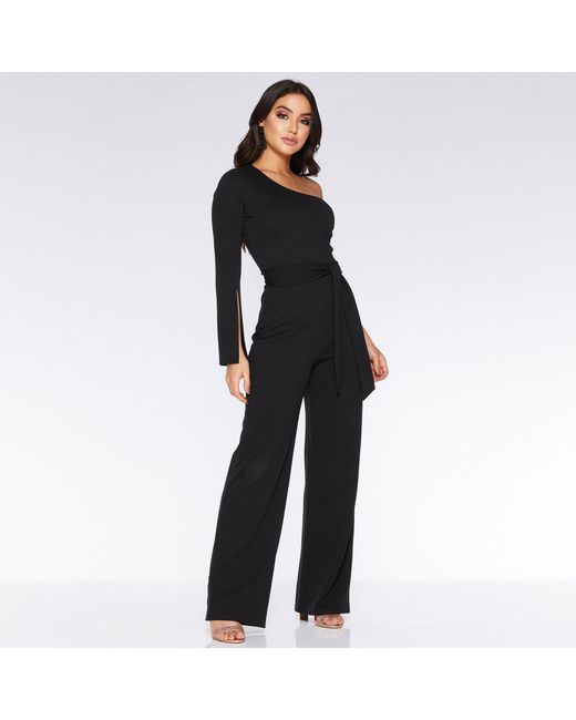 0ad5fb850ebf Quiz Black Asymmetric Split Sleeve Jumpsuit in Black - Lyst