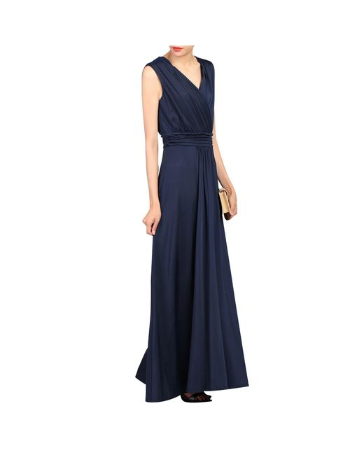 Jolie Moi Blue Plunge Wrap Front Maxi Dress
