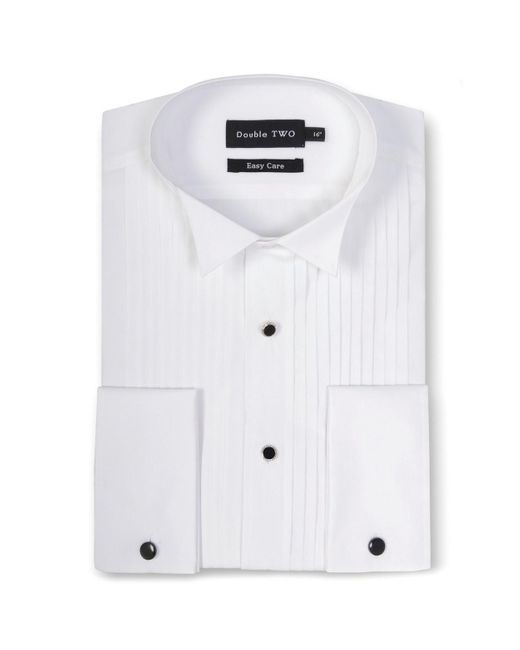 Double Two White King Size Wing Collar Stitch Pleat Dress Shirt for men