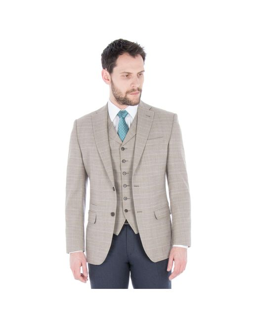 fadd7cce4 Men's Oatmeal With Orange Check Wool Blend Tailored Fit Jacket