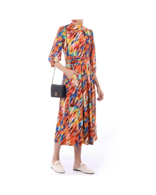Jolie Moi Orange 3/4 Sleeves Turtle Neck Midi Dress