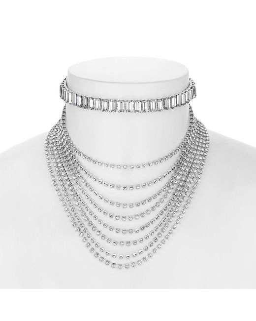 Red Herring - Metallic Silver Crystal Baguette Choker Necklace - Lyst
