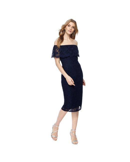Red Herring - Blue Navy Lace Short Sleeve Knee Length Bardot Dress - Lyst