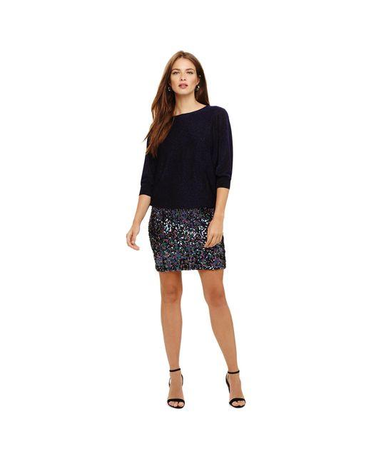 Phase Eight Blue Geonna Rainbow Sequin Knit Dress