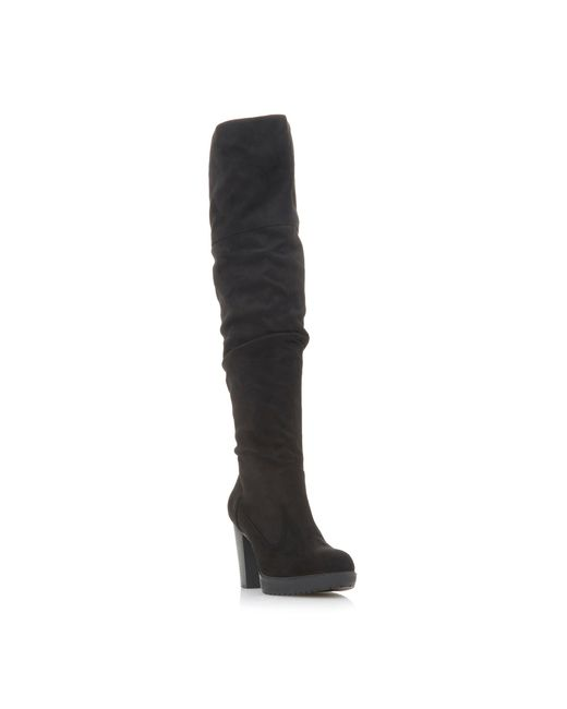 Dune Black 'taria' High Block Heel Knee High Boots