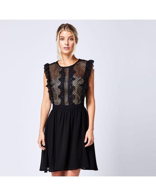 5ff56ec920be Angeleye Black Lace Mesh Ruffled Sleeveless Dress in Black - Lyst