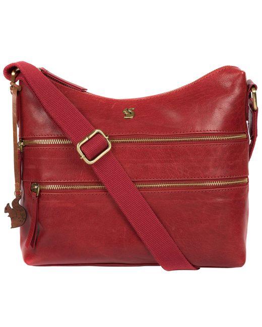 Conkca London Red Chilli Pepper 'georgia' Leather Shoulder Bag