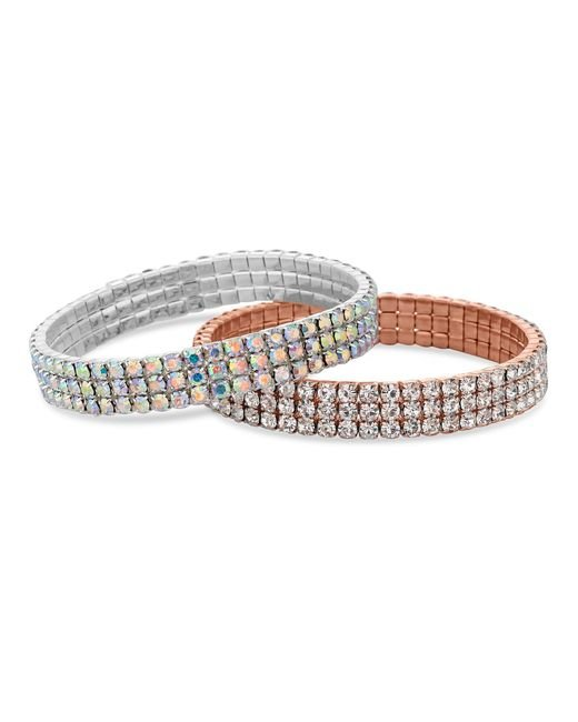 Red Herring - Metallic Rose Gold And Silver Crystal Stretch Bracelet Set - Lyst