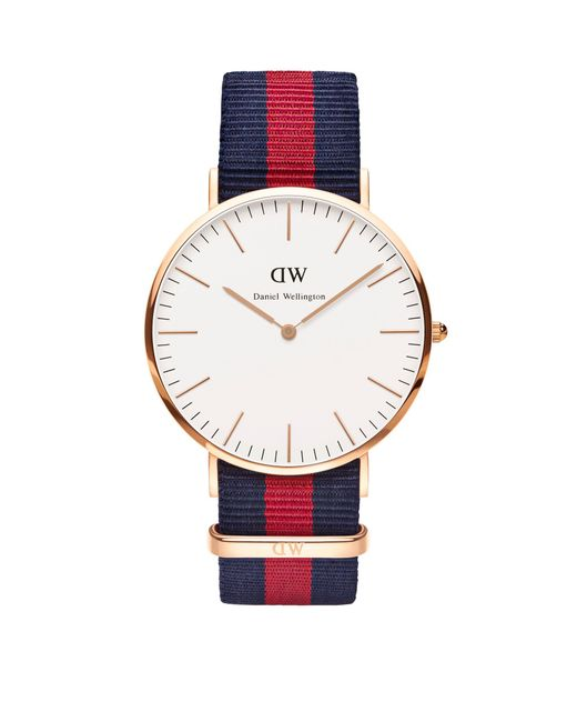 2eaf87362a32 Daniel Wellington - Metallic Men s Rose Gold  classic Oxford  Navy And Red  Nato Strap ...