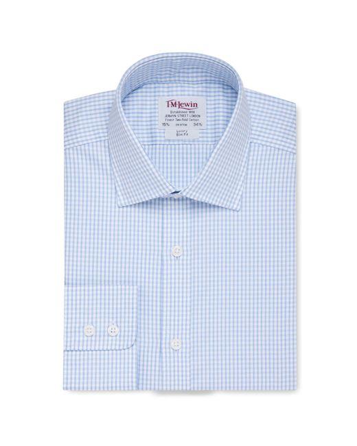 Tm Lewin - Slim Fit Blue Check Twill Button Cuff Regular Sleeve Length Shirt for Men - Lyst
