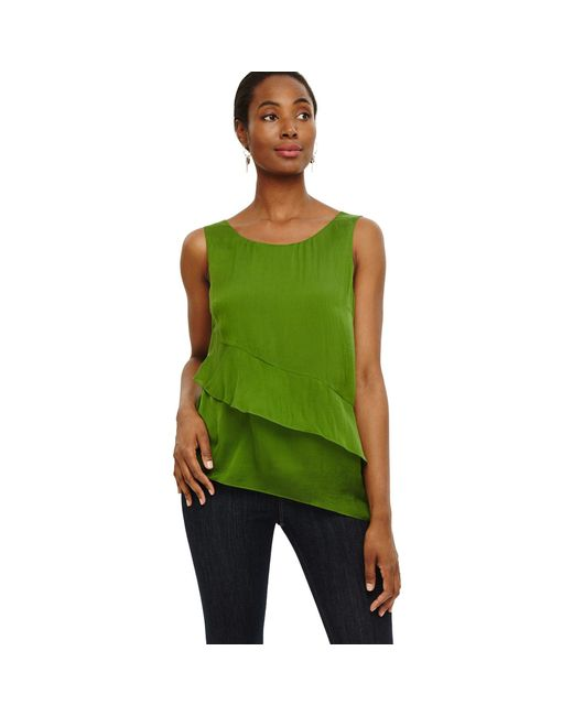 Phase Eight Green Kit Silk Tiered Blouse