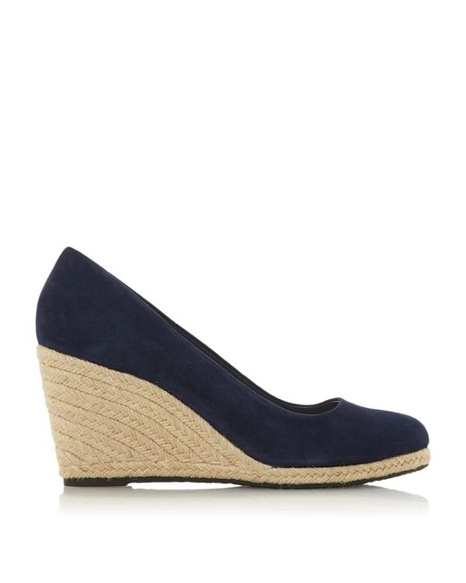 Dune Blue Suede 'annabella' High Wedge Heel Espadrilles Court Shoes