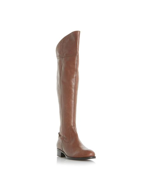 Dune - Brown 'teigen' Back Stretch Panel Over The Knee Boots - Lyst