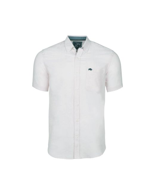 Raging Bull - White Short Sleeved Plain Linen Shirt for Men - Lyst