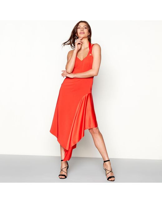 Début - Red Satin Insert 'kendall' V-neck Midi Prom Dress - Lyst