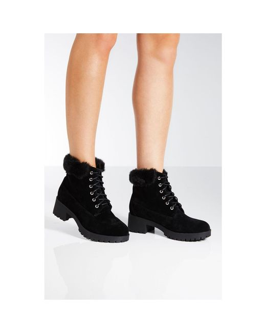 Quiz Black Faux Fur Hiker Boots