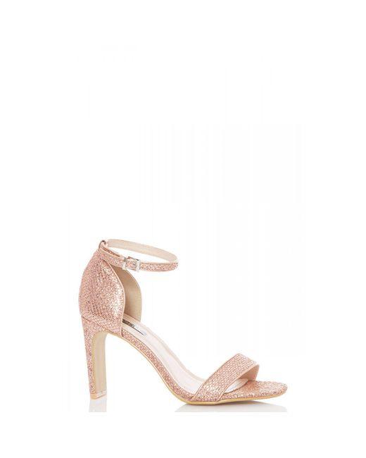 d7659720fb5 Quiz - Pink Rose Gold Shimmer Heeled Sandals - Lyst ...