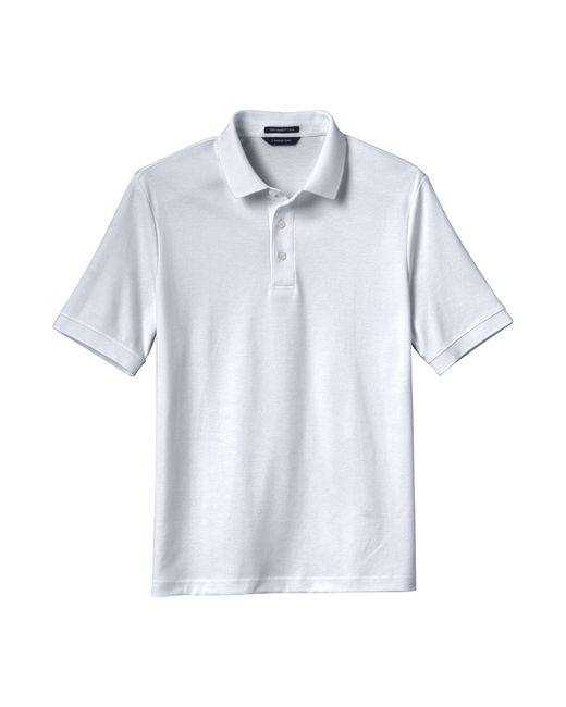 1dde9acdc76 Lands  End - White Men s Short Sleeve Supima Banded Sleeve Polo for Men ...
