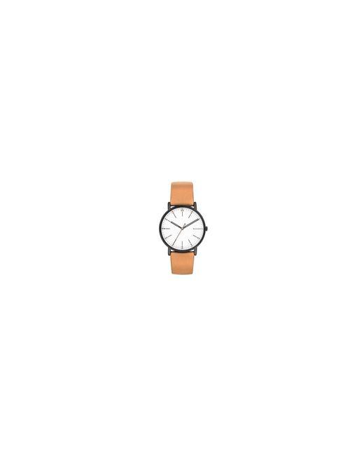 Skagen - Men's Brown Quartz Leather Strap Watch for Men - Lyst