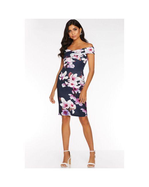 Quiz Blue And Pink Floral Print Bardot Dress