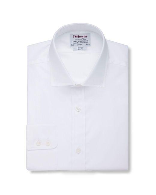 Tm Lewin - White Poplin Slim Fit Button Cuff Short Sleeve Length Shirt for Men - Lyst