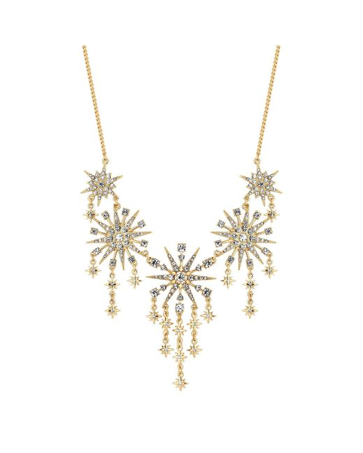 Red Herring - Metallic Gold Crystal Starburst Statement Necklace - Lyst