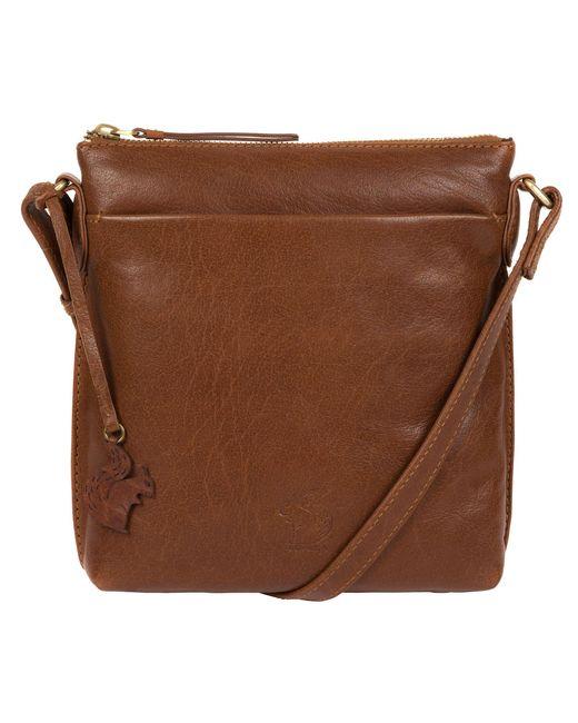 Conkca London - Brown Dark Tan 'nikita' Leather Compact Cross-body Bag - Lyst