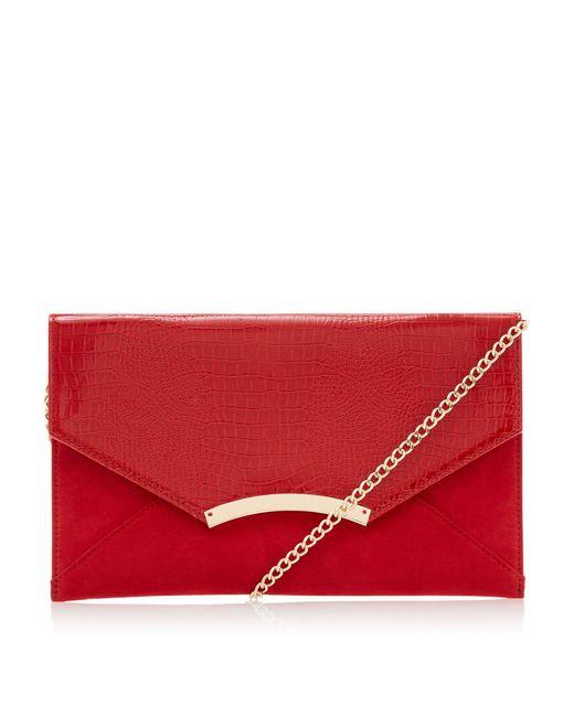 Dune Red Bou' Clutch Bag