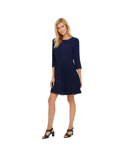 Phase Eight Blue Indigo Michelle Side Pleat Dress