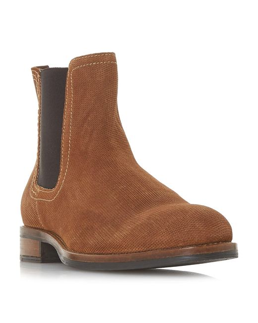 Dune Brown Men's 'cairn' Waxed Chelsea Boots for men