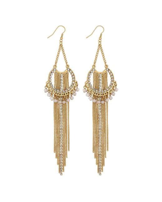 Lipsy - Metallic Layered Chain Drop Earrings - Lyst
