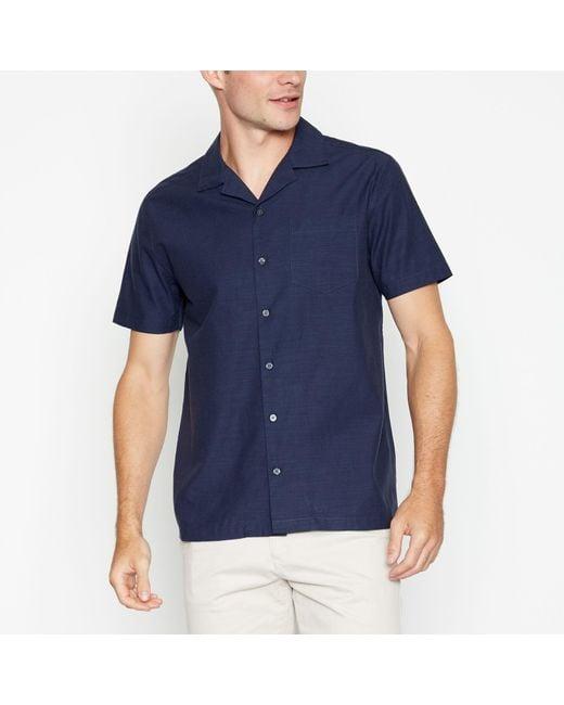 Racing Green Blue Short Sleeves Regular Fit Shirt With Linen for men