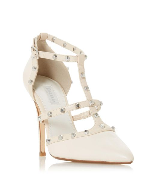 Dune - White Bridal Collection Daenerys Studded Cut Out Court Shoes - Lyst