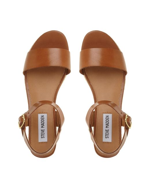 10bca107a64 ... Steve Madden - Brown Tan  busy  Mid Platform Ankle Strap Sandals - Lyst