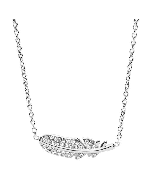 Fossil - Metallic Silver Feather Necklace - Lyst