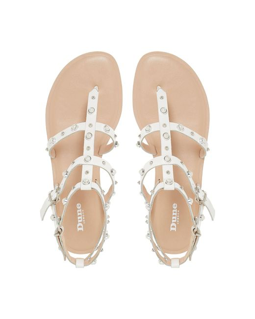 01f4965fba Dune White Leather 'natascha' T-bar Sandals in White - Lyst
