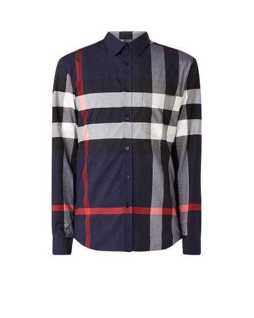 Burberry Somerton Regular Fit Overhemd Met Ruitdessin in het Blue voor heren