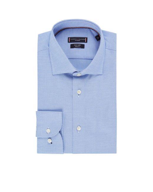 Tommy Hilfiger Dobby Slim Fit Overhemd Met Ingeweven Dessin En Extra Lange Mouw in het Blue voor heren