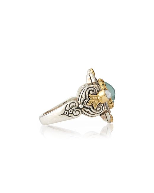 Konstantino | Sea Blue Agate & Pearl Ring | Lyst