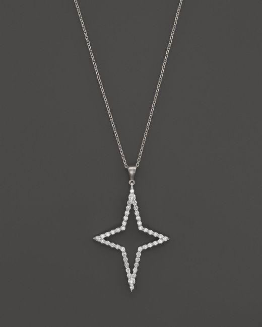"Roberto Coin | 18k White Gold Diamond Star Pendant Necklace, 18"" | Lyst"