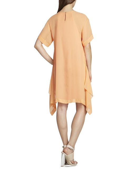 bcbgmaxazria layered dress in orange bright nectar