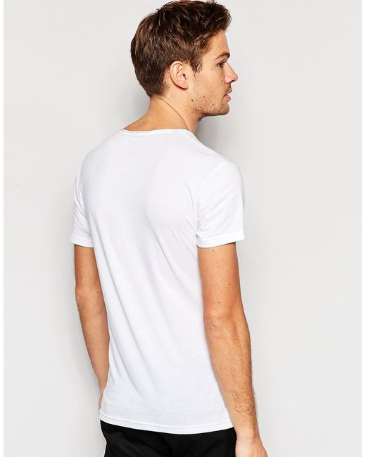 Esprit Scoop Neck T Shirt With Raw Edge In White For Men