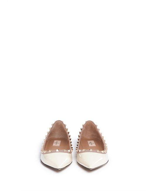 Valentino | White Rockstud Leather Ballerinas | Lyst