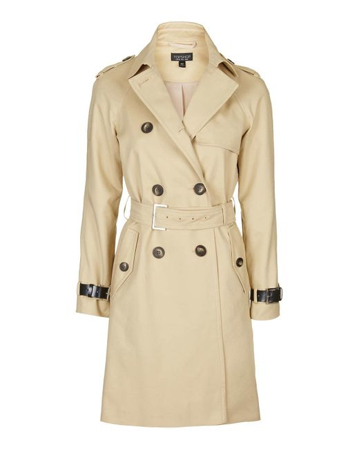 TOPSHOP | Beige Military Trench Coat | Lyst