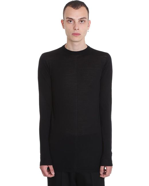 Rick Owens Level Lupetto Knitwear In Black Wool for men