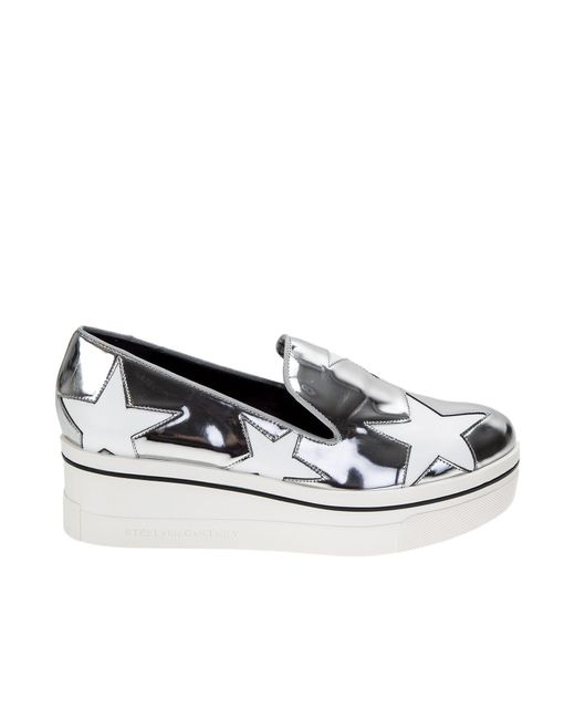 Stella McCartney | Metallic Silver Slip-on Shoes With White Stars | Lyst